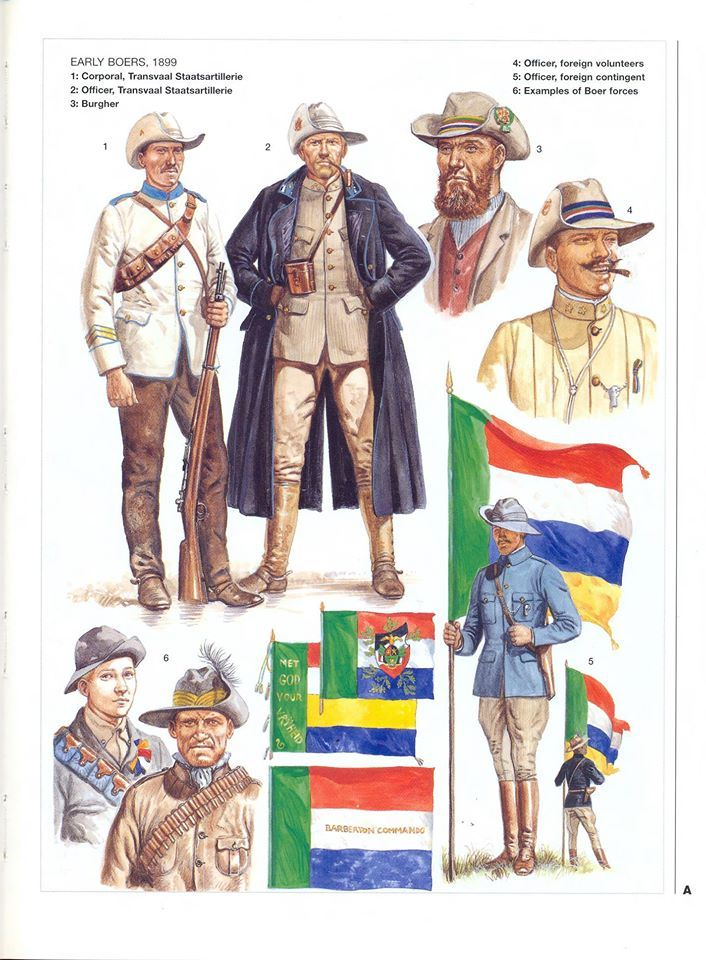 EARLY BOERS,1899 1:Corporal,Transvaal Staatsartilierie.2:Officer,Transvaal Staatsartilierie.3:Burgher.4:Officer,foreign volunteers.5:Officer,foreign contingent.6:Examples of Boer Forces.