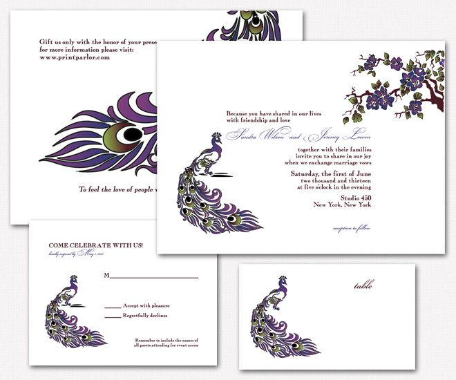 Modern Peacock Wedding Invitation Set