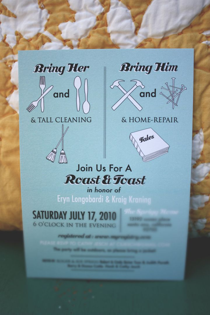 recipe themed bridal shower invitation wording%0A Roast  u     Toast Couples Shower Invite