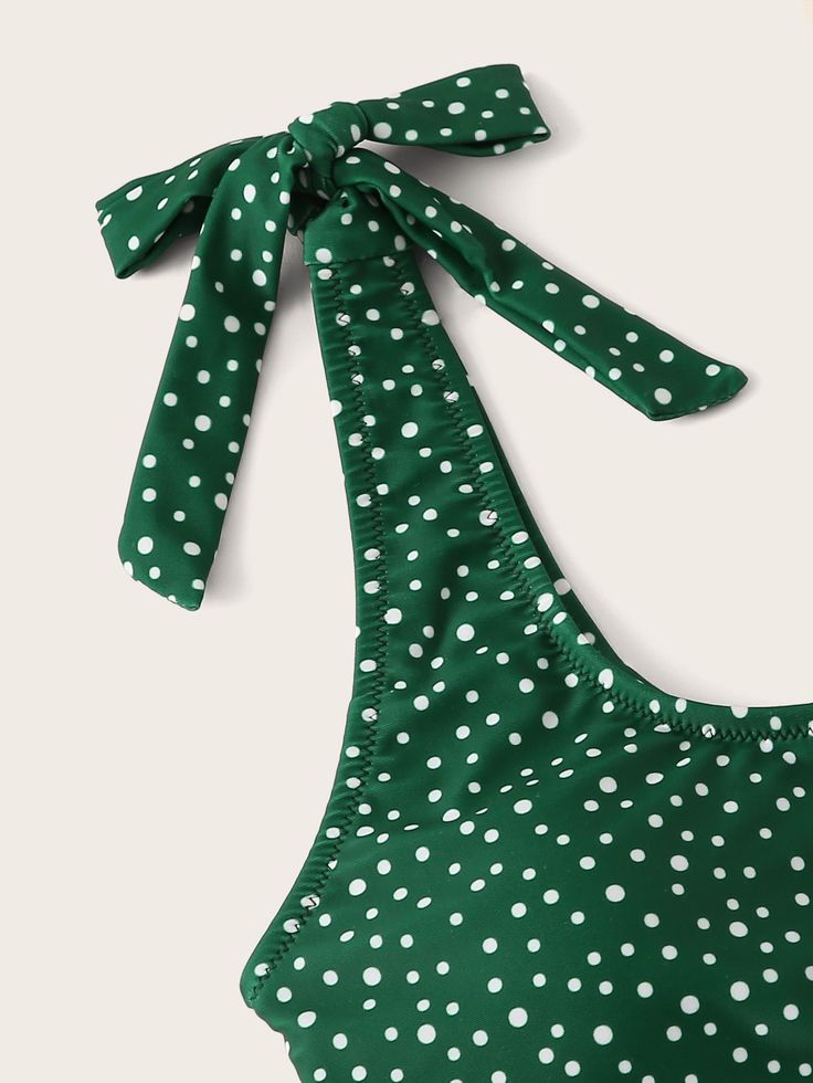 Ad: Polka Dot Self Tie Bikini Set. Tags: Yes,can be removed, Green, Fabric is ve…