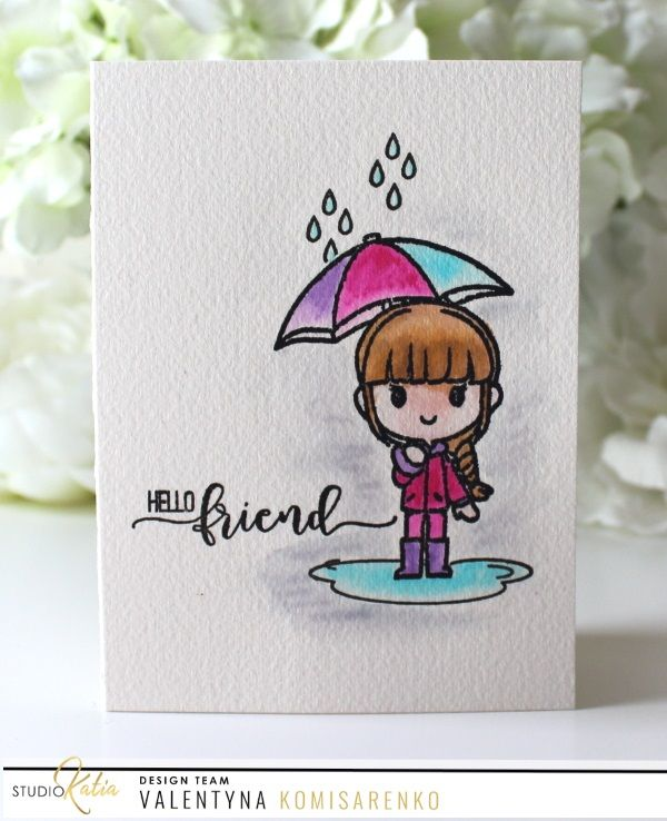 Cute and adorable watercolored card with Studio Katia Hello Alice stamp set