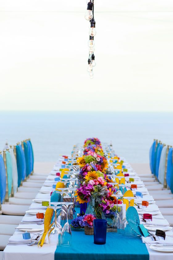 Dinner Table with back drop with Ocean