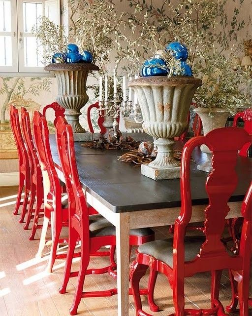 bright red chairs.  idea for my dining chairs when I'm tired of mahogany stain or want a different look.  Alternative:  White