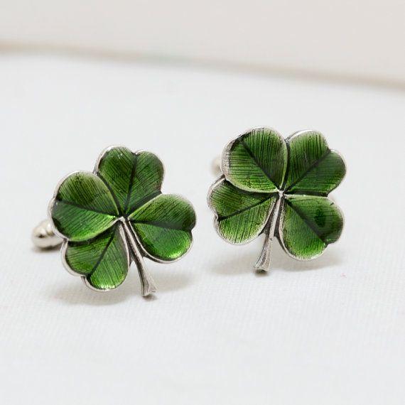 Four Leaf Clover Cufflinks Jewelry Gift Soldered by emmalocketshop