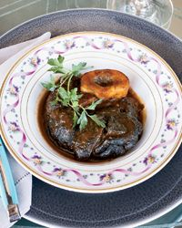 Chef Michael Mina's red wine-braised beef shanks. Whoa. This would kick serious dinner party butt.