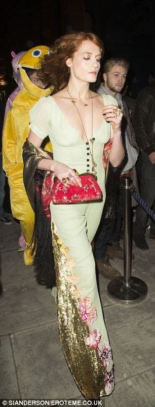 Elaborate: Florence's outfit featured floral embroidery and gold sequins: LOVE!