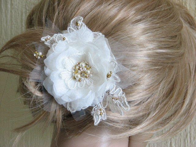 Ivory hair flower Ivory hair clip Wedding ivory flower Ivory gold hair flower Gold ivory wedding flower Ivory wedding headpiece Hair flower by WhiteBridalBoutique on Etsy https://www.etsy.com/listing/130006795/ivory-hair-flower-ivory-hair-clip
