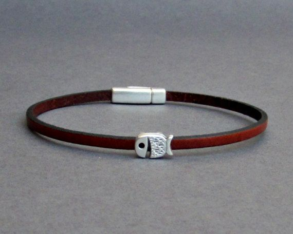 Whale Bracelet Mens Tiny Leather Bracelet Silver Dainty by GUSFREE
