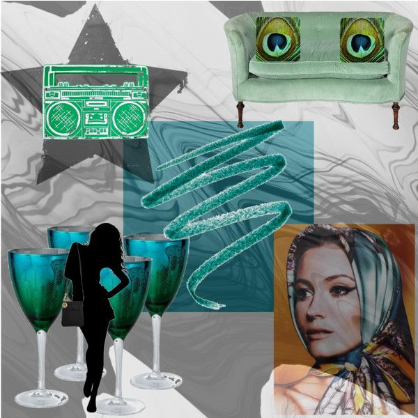 """Boom-box Peacock Stemware Longing"", created by sarah-siegel on Polyvore"