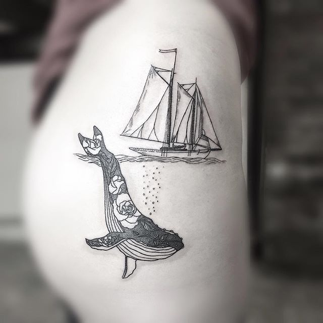 Sail Boat & Whale thigh tattoo ⛵️