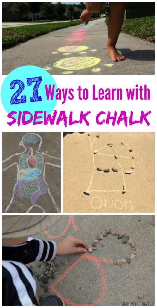 Sidewalk Chalk learning games and activities for summer -- fun ideas for science, art & keeping kids moving!