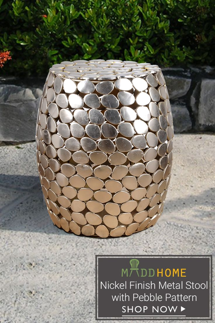 Bring a hint of vintage glamour to your garden or your living space, take a look at our number of pebbles ornamental crafted pattern Nickel Finish Metal #Stool #gardenstool #outdoorstool #metalstool Grab it here: https://goo.gl/trJymj
