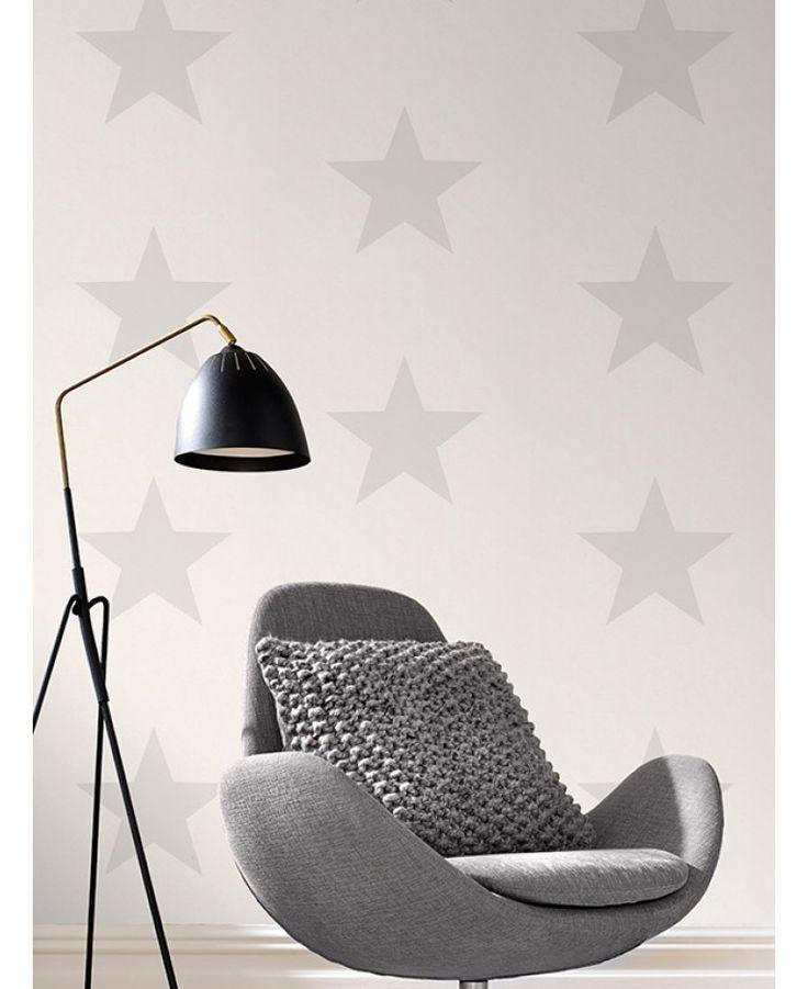Rasch Star Wallpaper - Grey on White 248135