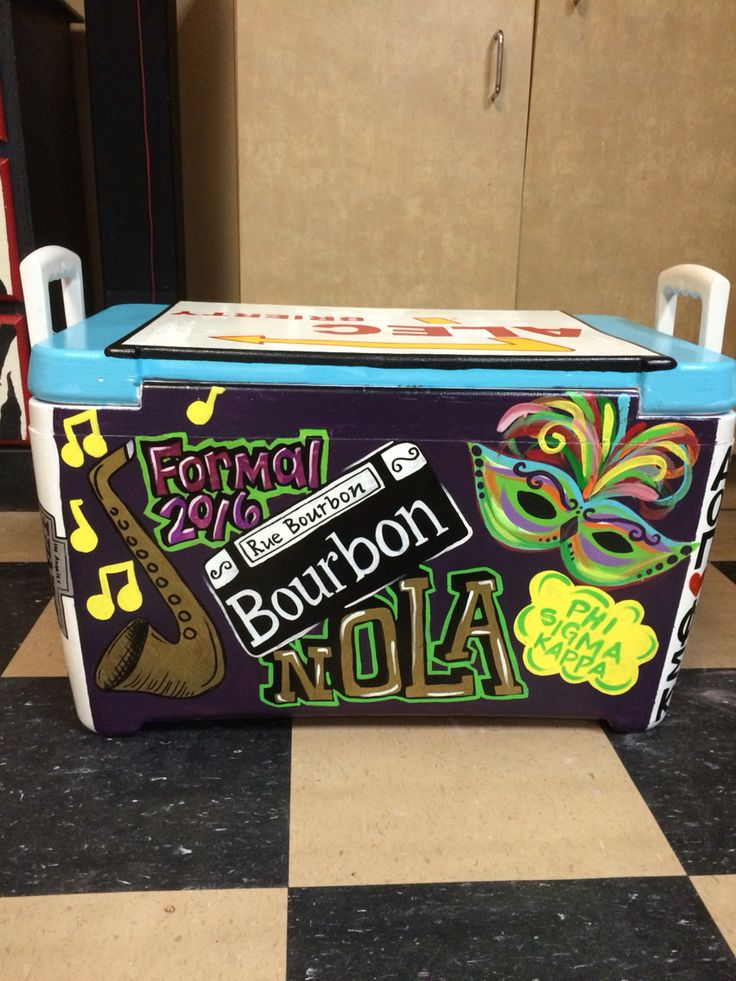 ORDER ME ON FACEBOOK @ FRESH PRINTS OF BELAIRE OR INSTAGRAM @ FRESH_PRINTS_OF_BELAIRE Personalized, custom College handpainted cooler, yeti, New Orleans, Louisiana, Nola, Mardi Gras, phi sigma kappa, sorority, greek, fraternity, painted formal cooler, bourbon street