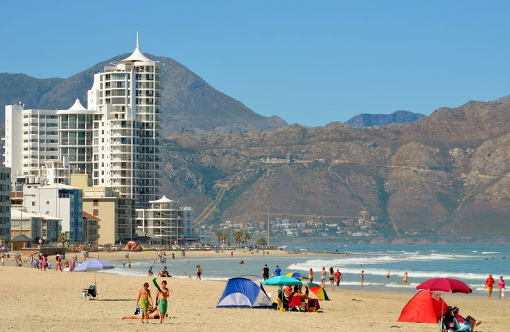 Hibernian Towers on Strand Beach Road - Cape Town - the Hottentots-Holland mountain range as backdrop running along False Bay's eastern edge (part of Kogelberg Nature Reserve). #Strand #HibernianTowers #CapeTown