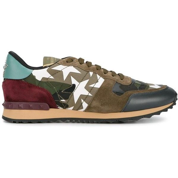 Valentino Garavani Camouflage Sneakers ($670) ❤ liked on Polyvore featuring men's fashion, men's shoes, men's sneakers, army green, mens lace up shoes, valentino mens sneakers, mens camo sneakers, valentino mens shoes and mens camo shoes