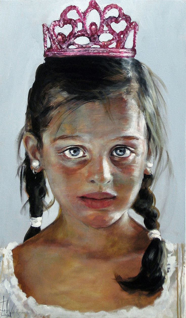 """Precious"" - Esther Erlich (Australian, b. 1955) {female head tiera girl face portrait painting} esthererlich.com"