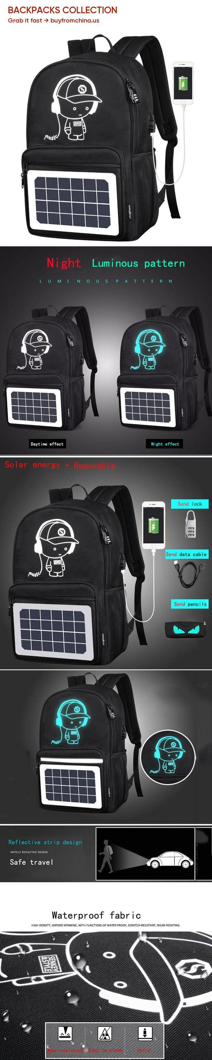 Senkey Style Solar Men Backpacks Cartoon Anti-theft Waterproof 14inches Usb Char…