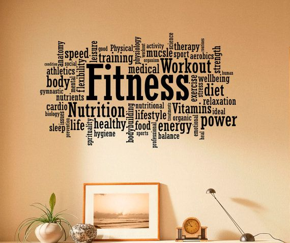 Remise En Forme Wall Decal Vinyle Autocollants Sport Gym Mots