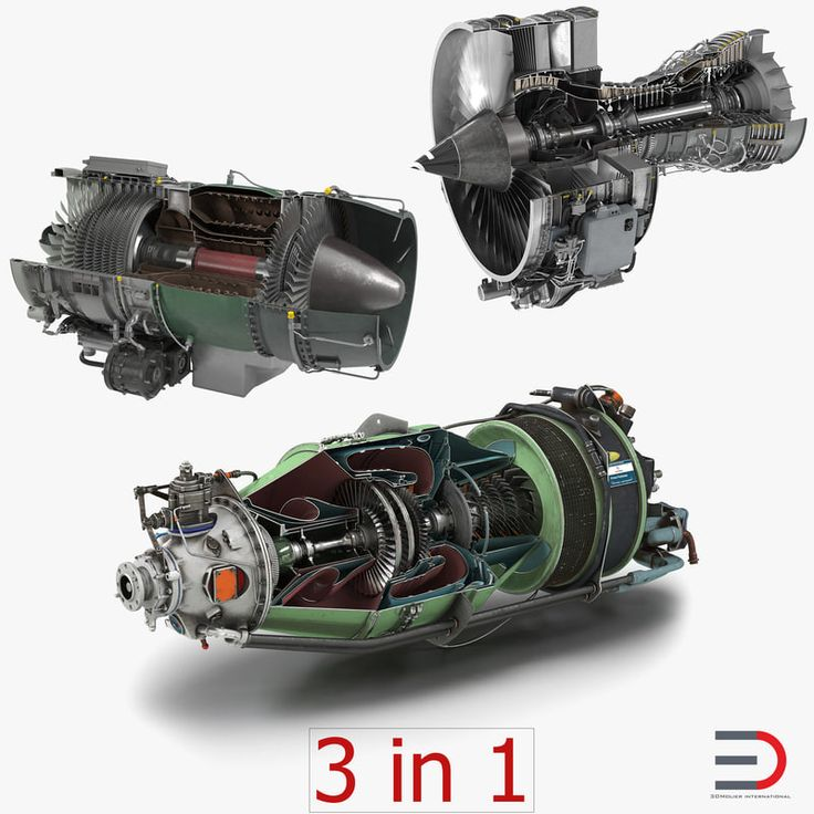 Sectioned Turbojet Engines 3D Models Collection