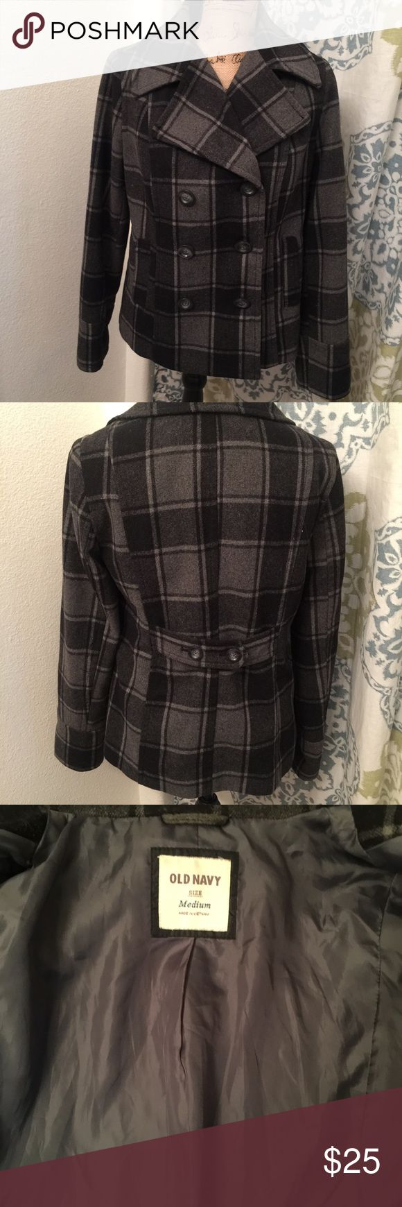 Old Navy pea coat Grey and black plaid. Gently used no tears or stains! Awesome condition and very warm! Super cute! Wool blend outside fully lined inside. Very nice coat! Old Navy Jackets & Coats Pea Coats