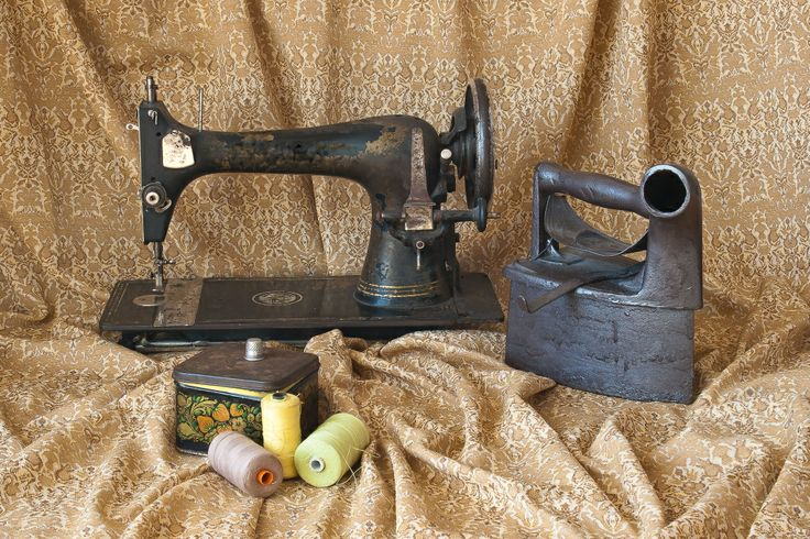 """Still life -  vintage by Irena Lisiewicz: """"Old – fashioned sweing machine on draped material"""". #art, #creative, #still life, #irenalisiewicz, #vintage, #artwork, #handmade, #design, #original, #card, #gift, illustration, #symbol,  #photography, #retro style, #visual art, #old-fashion,"""