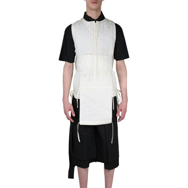 Craig Green Quilted nylon vest ($323) ❤ liked on Polyvore featuring men's fashion, men's clothing, men's outerwear, men's vests, bianco, mens vest, mens vests outerwear, mens zip up vest, mens quilted vest and mens summer vests