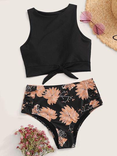 Knot Hem Top With High Waist Bikini Set