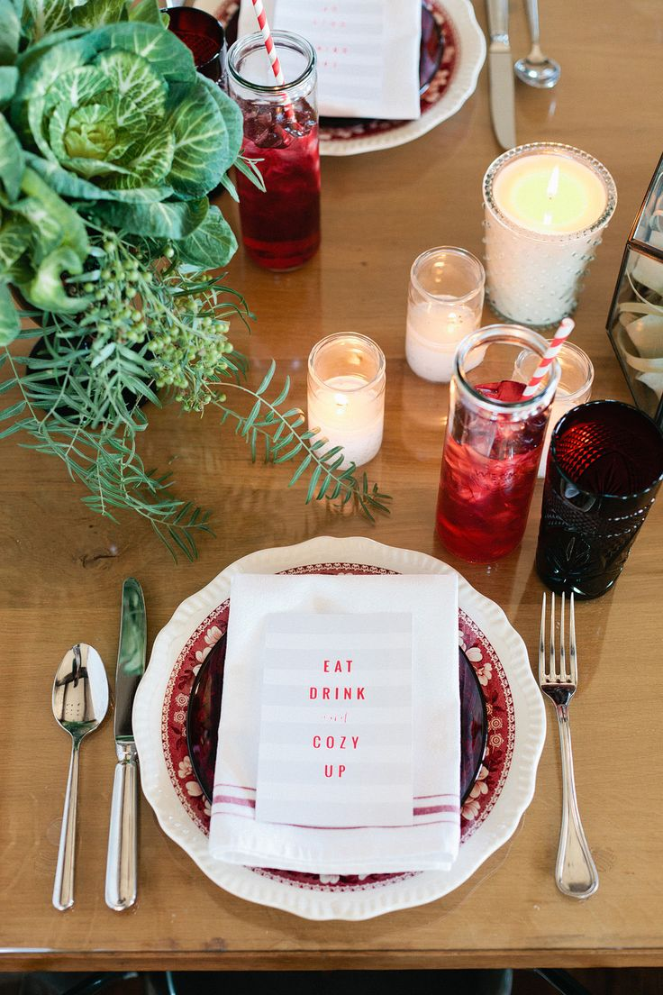 Cozy red & white table setting