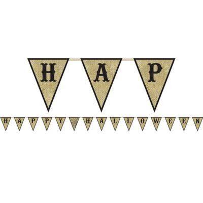 Happy Halloween Burlap Pennant Banner | 1 ct