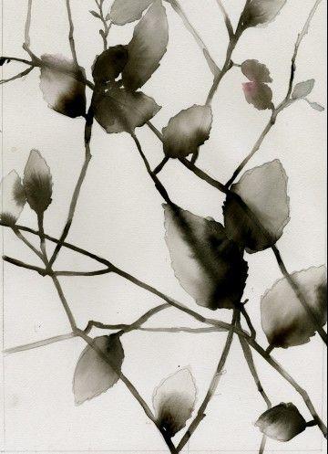 L'automne en noir et blanc... le coeur sur un banc...  solitude de l'instant... Sandra Dulier sur une aquarelle de Luli Sanchez