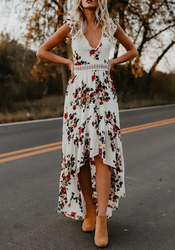 5466f2a51f White Floral Ruffle Lace Backless V-neck Short Sleeve Fashion Boho High-low  Dress