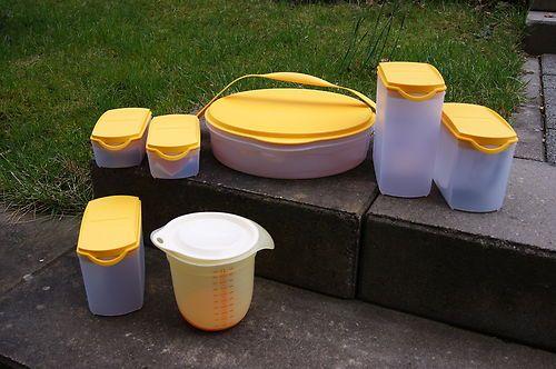 Tupper Aufbewahrungsbehälter Tortenbehälter Messbecher Tupperware gelb / weiß | eBay
