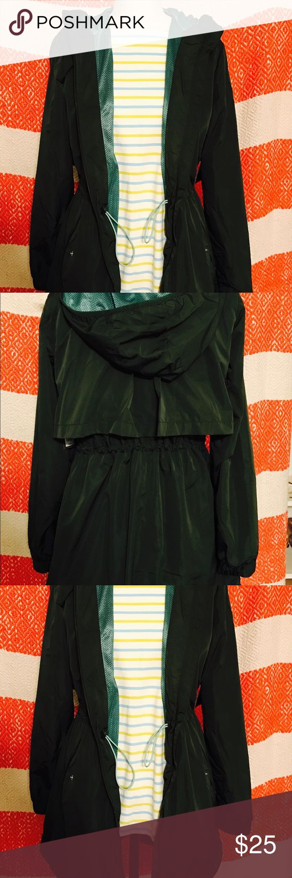 """Women's water resistant jacket. This is one of the cutest jackets I've ever come across! It's the most beautiful green color with a cool """"mesh"""" like inside that is an aqua color. This combo looks great together! It is super flattering on and cinches at the waist. Not only is it cute but super functional! Water resistant and light weight! Perfect for Spring.  Ps- cute shirt underneath not included :( Jackets & Coats"""