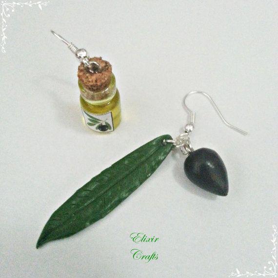 Greek Olive Oil Miniature Bottle Earrings Olive by ElixirCrafts