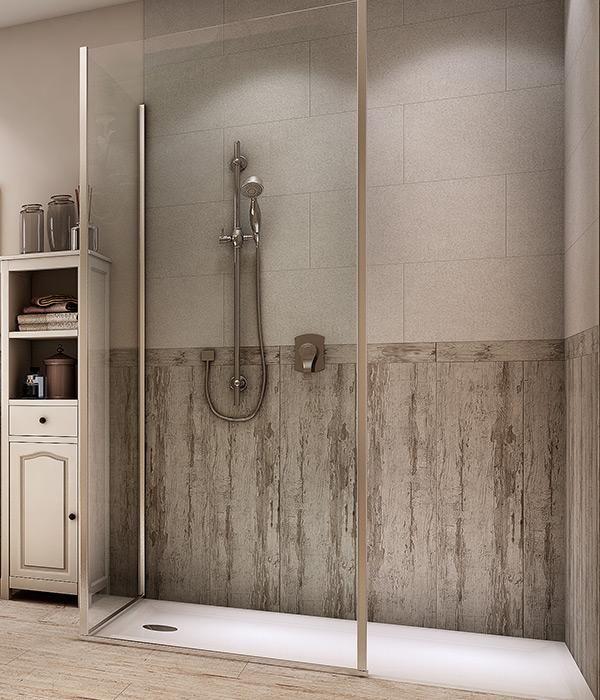 Magnifique douche à l\'italienne et faïence bois porte vitrée ...