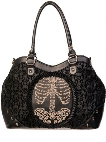 "Women's ""Skeleton"" Flocked Cameo Bag by Banned Apparel (Black)"