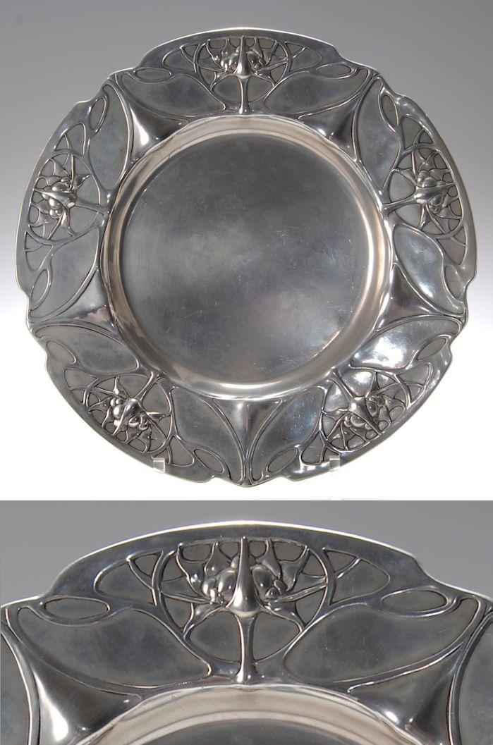 Friedrich Adler, German Art Nouveau pewter plate, 1900-1901, manufactured by…