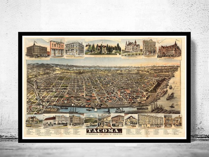 Tacoma Washington Panoramic View 1890This is a reprodution vintage highly detailed gravure. The image has multiple sizes.It has an extra 0,2 white border.The illustration is printed on fine matte museum archival paper 250gsmThe frame is not includ...