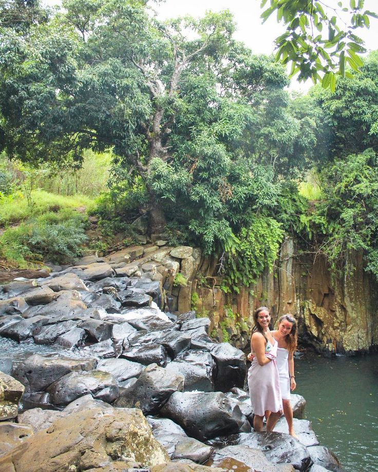 Girl power prevails  as the only two to jump off Rochester waterfall!  #mauritius #traveller #goals