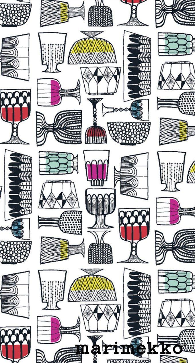 マリメッコ/食器2 iPhone壁紙 Wallpaper Backgrounds iPhone6/6S and Plus Marimekko iPhone Wallpaper