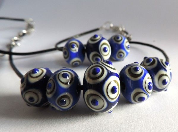 Glass beads, handmade from Murano glass, necklace and bracelet set, inspired by Celtic and Roman models