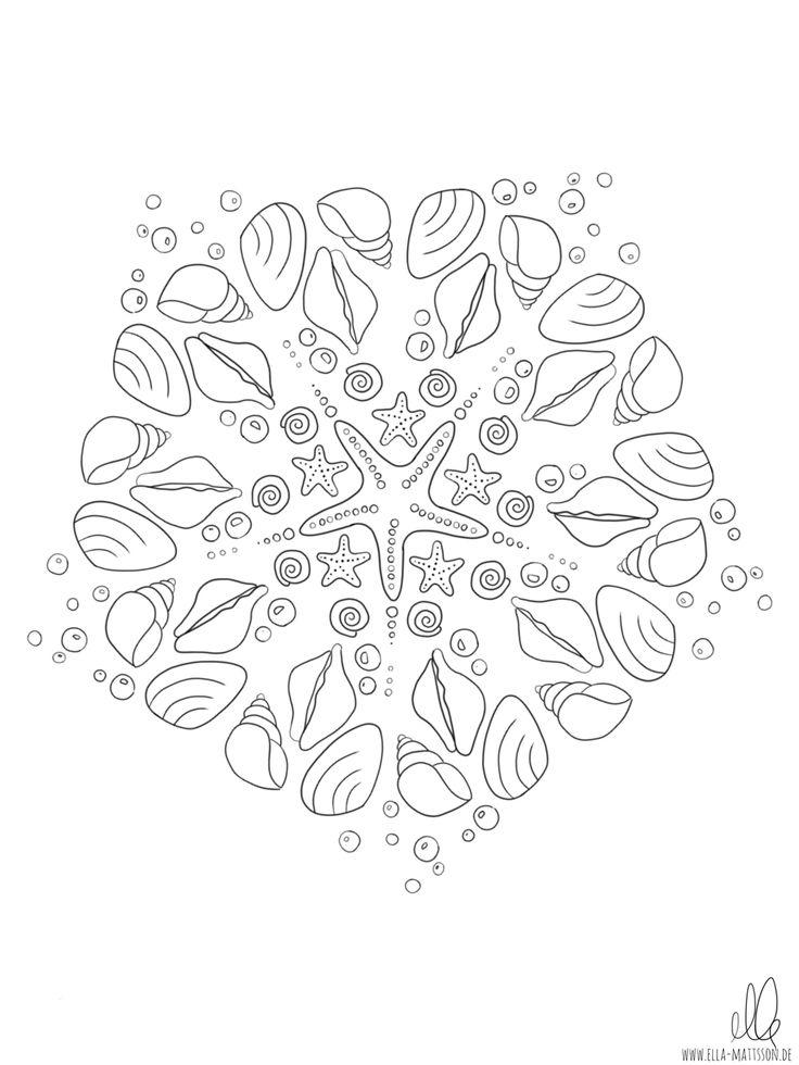 ausmalbild mandala muscheln  ausmalbilder ausmalen