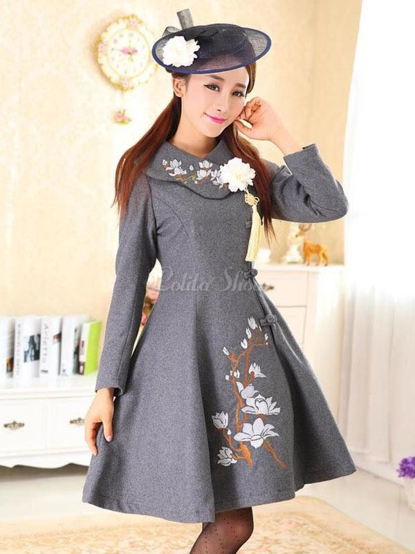 Lolitashow Lolita-Stil Kleidung Flora gedruckt a-Linie aus Wolle Milanoo Lolita Mantel
