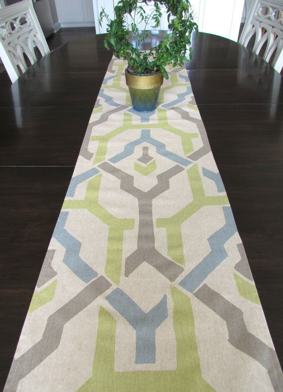 TABLE RUNNER 12 x 48 Gray Green Blue Modern Table Runners Wedding Showers Decorative Gray Blue Green Table Runner 48 60 72 84 96