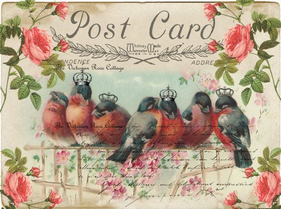 Crowned Royalty Red Birds Fabric Block - Art Print