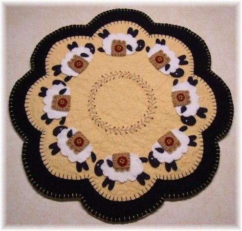 Primitive Penny Sheep Candle Mat Penny Rug Pattern