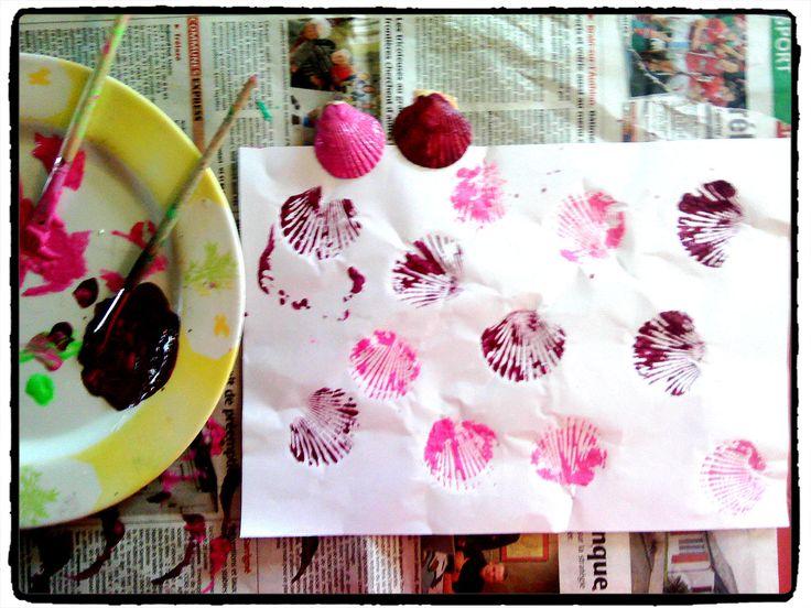coquillage, mer, empreintes, peinture, bricolage enfant