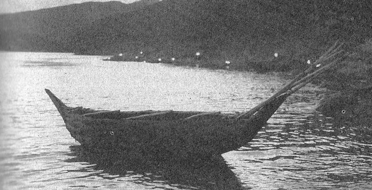 Yamana canoe photographed in 1883