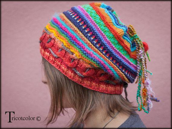 """Bonnet béret Tricotcolor tricoté main """" jacquard pétillant - Hélène est une créatrice française fantastique."""